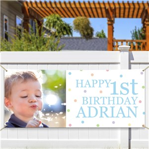Personalized Photo First Birthday Banner | Personalized Photo Gifts