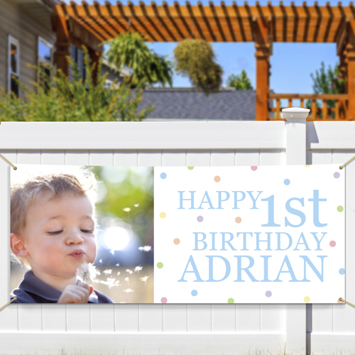 Personalized Photo First Birthday Banner 911048614