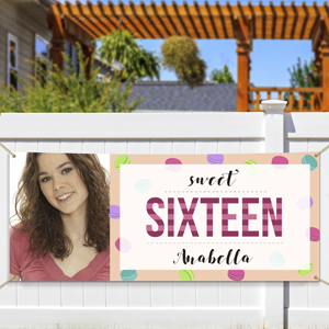 Personalized Sixteenth Birthday Photo Banner