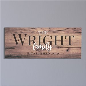 Personalized Wood Family Canvas | Personalized Home Decorations