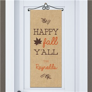 Personalized Happy Fall Ya'll Door Banner 911060815
