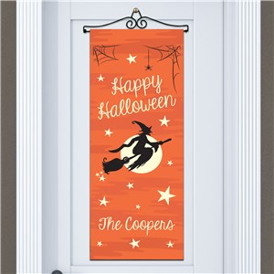 Personalized Witch on a Broom Door Banner