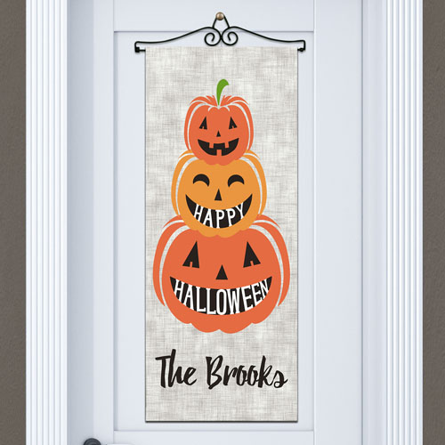 Personalized Stacked Pumpkins Wall Banner 911062018