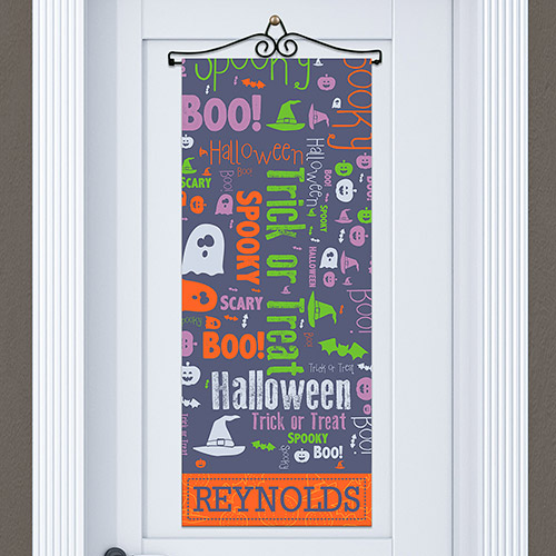 Personalized Witch on a Broom Door Banner | Personalized Decor For Halloween