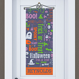 Personalized Witch on a Broom Door Banner 911061215