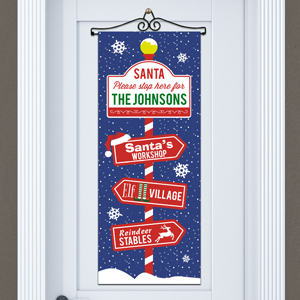 Personalized Santa Please Stop Here Door Banner | Personalized Christmas Signs