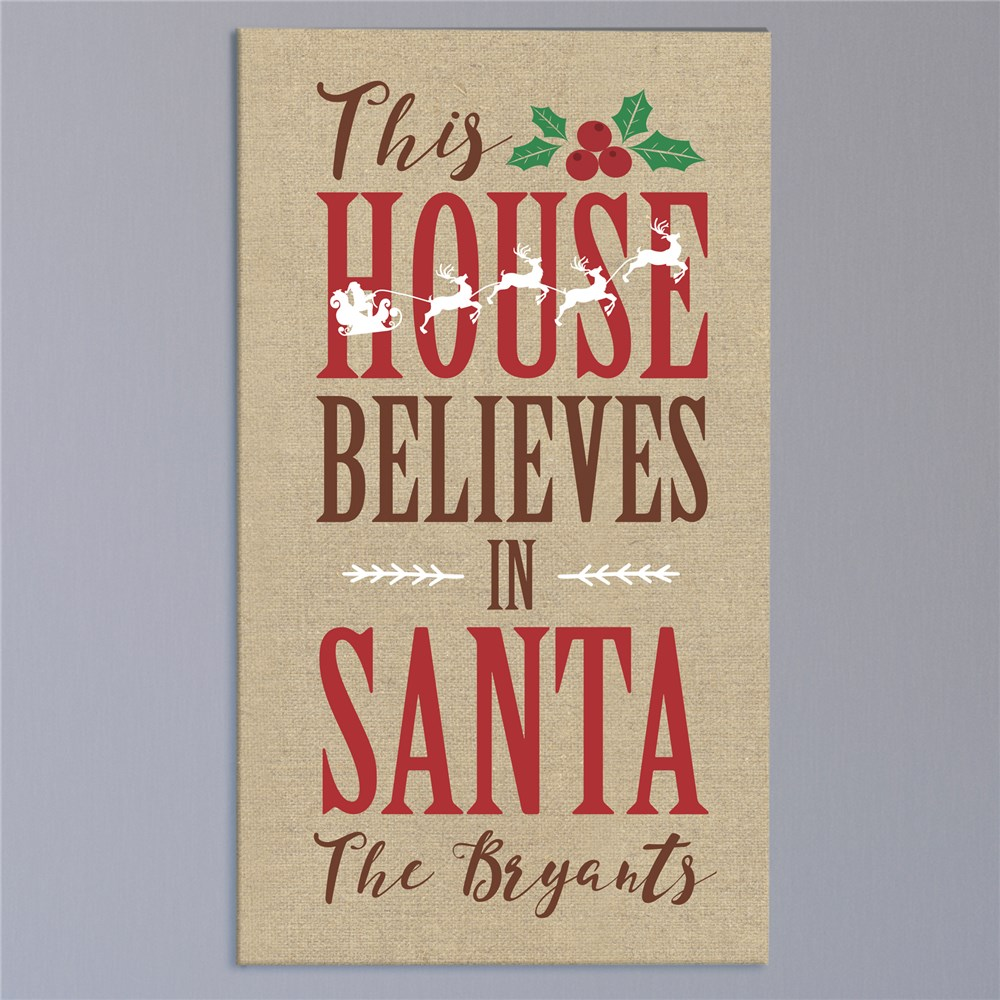 Personalized Believes in Santa Wall Canvas | Christmas Wall Decor