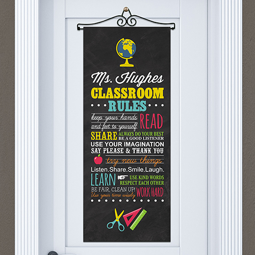 Personalized Classroom Rules Door Banner |  Personalized Teacher Gifts
