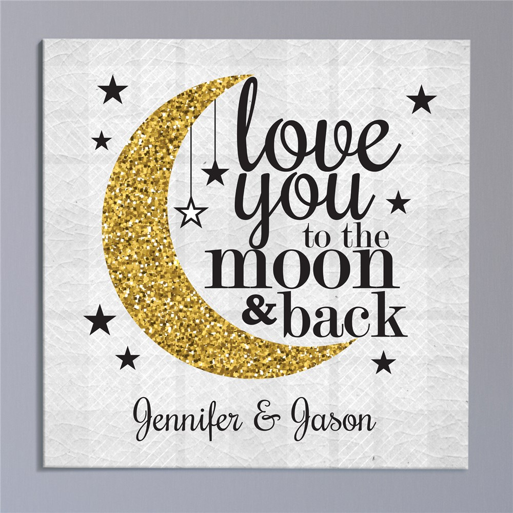 Personalized Love You To The Moon And Back Square Canvas | Personalized Canvas Wall Art