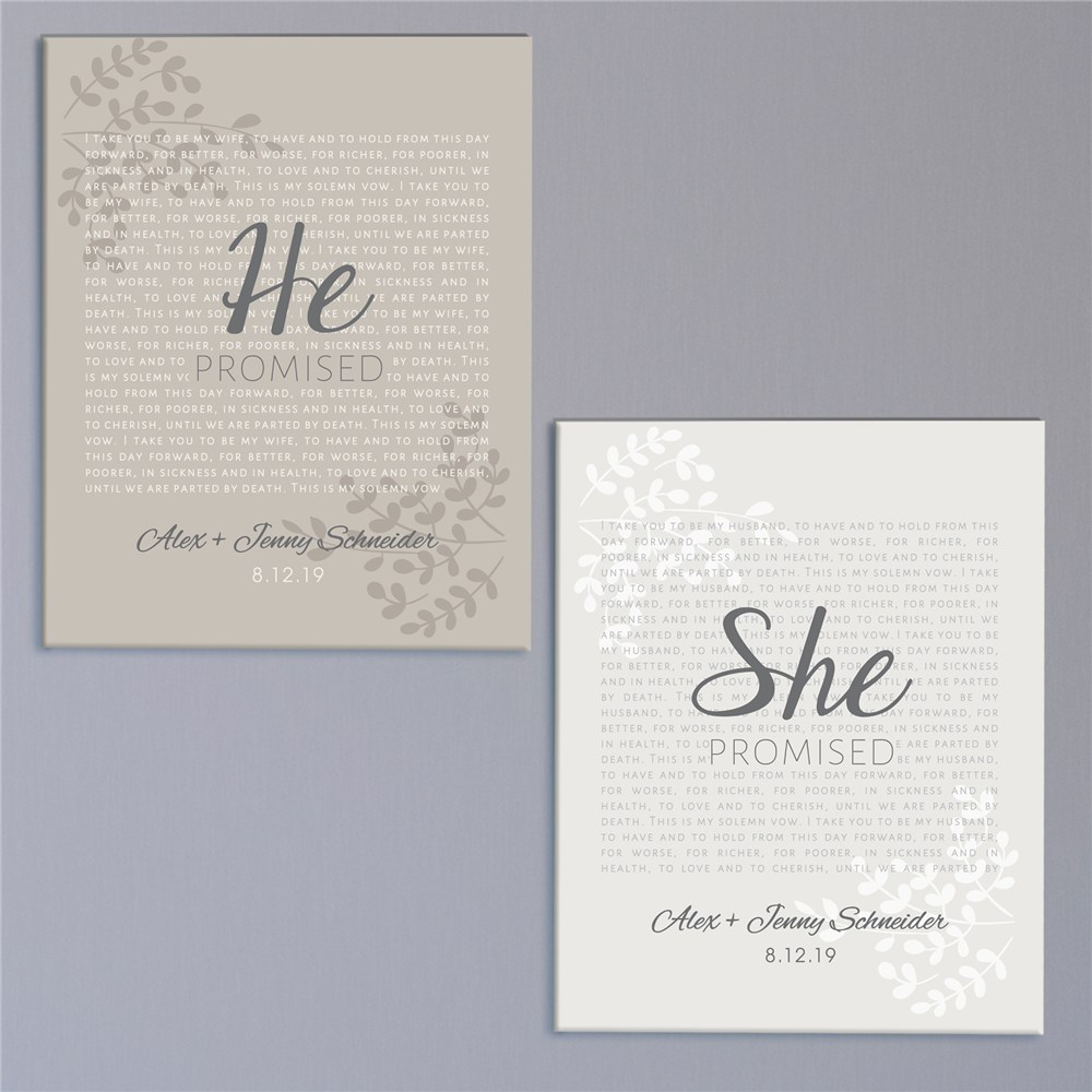Personalized He and She Promised Canvas | Personalized Romantic Gifts For Home