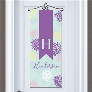 Abstract Floral Personalized Door Banner | Personalized Housewarming Gifts