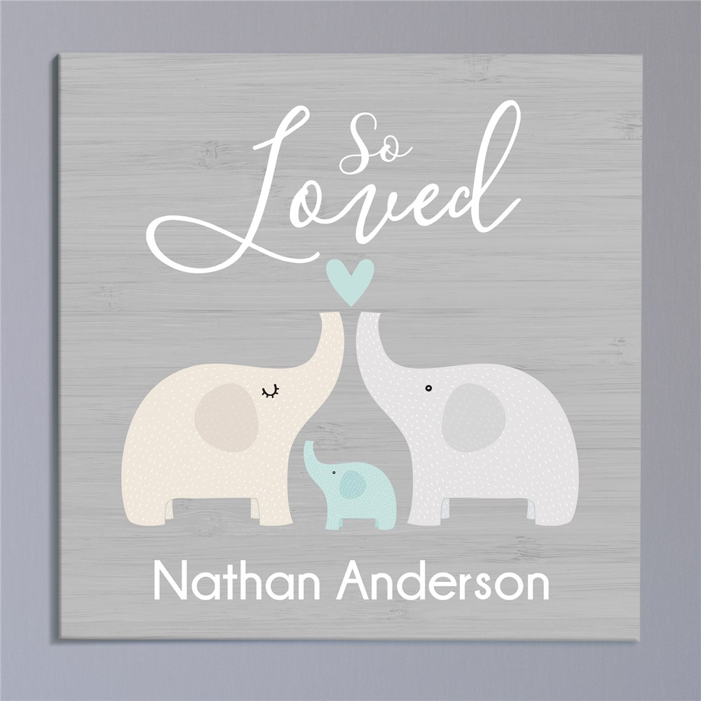 Personalized So Loved Square Canvas | Personalized Baby Name Wall Decor