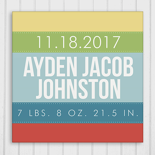 Personalized Baby Stripes Wall Canvas | Baby Wall Canvas