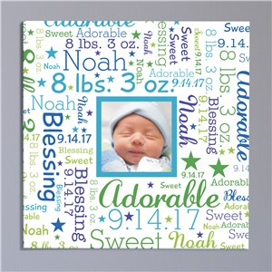 Baby Photo Word-Art Square Canvas | Personalized Canvas Art For Baby