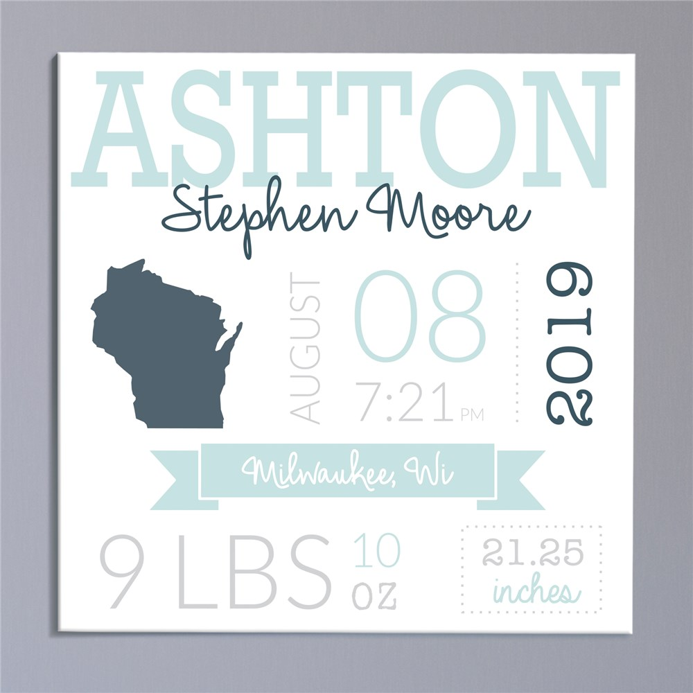 Personalized Baby Wall Canvas | Personalized Baby Gifts