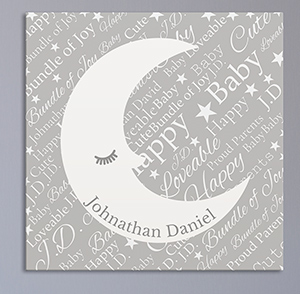 Personalized Baby Moon Word-Art Canvas | Personalized Baby Wall Decor