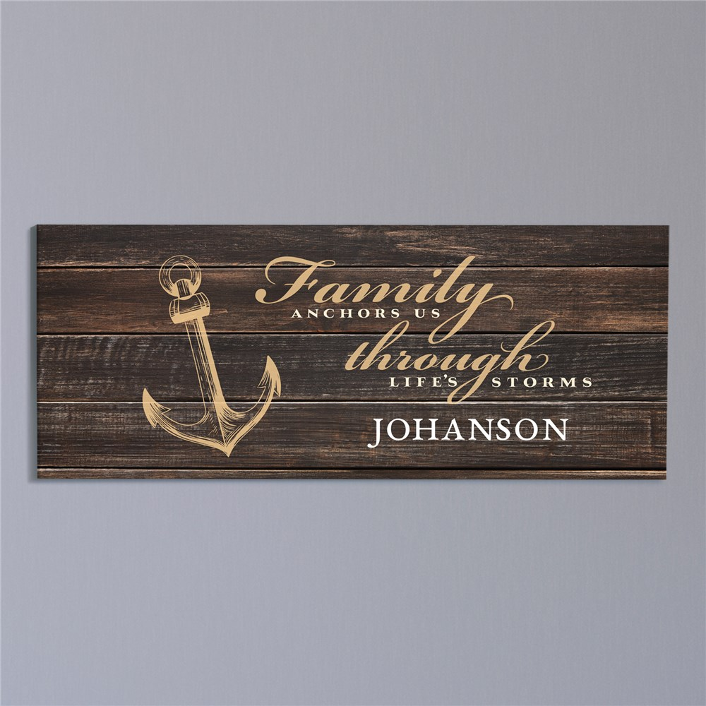 Personalized Family Anchors Us Wall Canvas | Personalized Family Name Wall Art