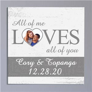 Personalized All Of Me Loves All Of You Word-Art Wall Canvas | Personalized Valentine's Gifts