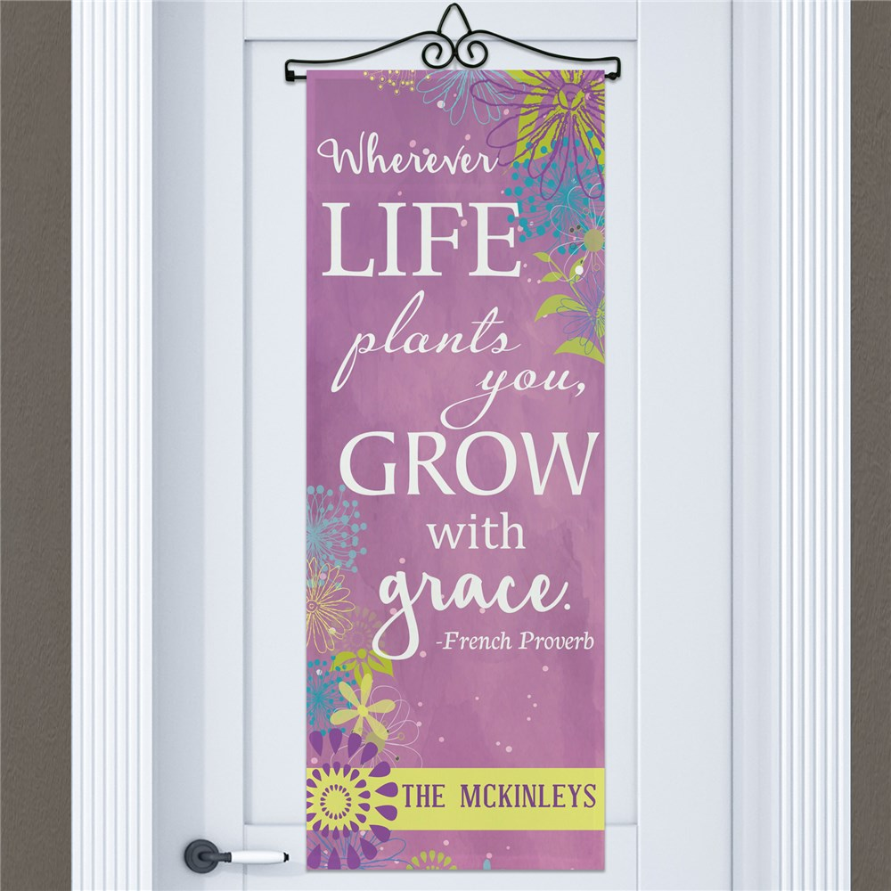 Grow with Grace Personalized Door Banner | Personalized Door Signs