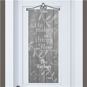 Personalized He Makes All Things New Door Banner | Personalized Door Banners