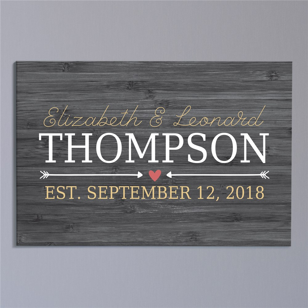 Personalized Heart and Arrow 20x30 Wall Canvas | Personalized Wall Art For Couples