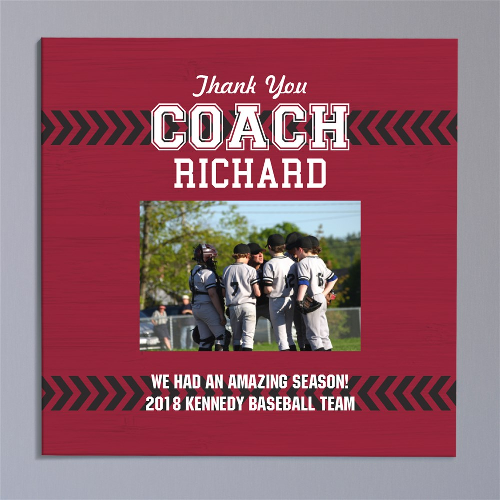Personalized Photo Thank You Coach Canvas | Personalized Coach Gifts