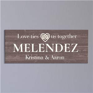 Love Ties Us Together Art | Personalized Love Themed Sign