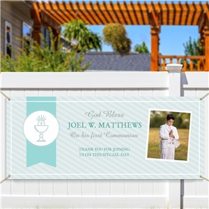 Communion Banner With Photo | Personalized Communion Party Banner