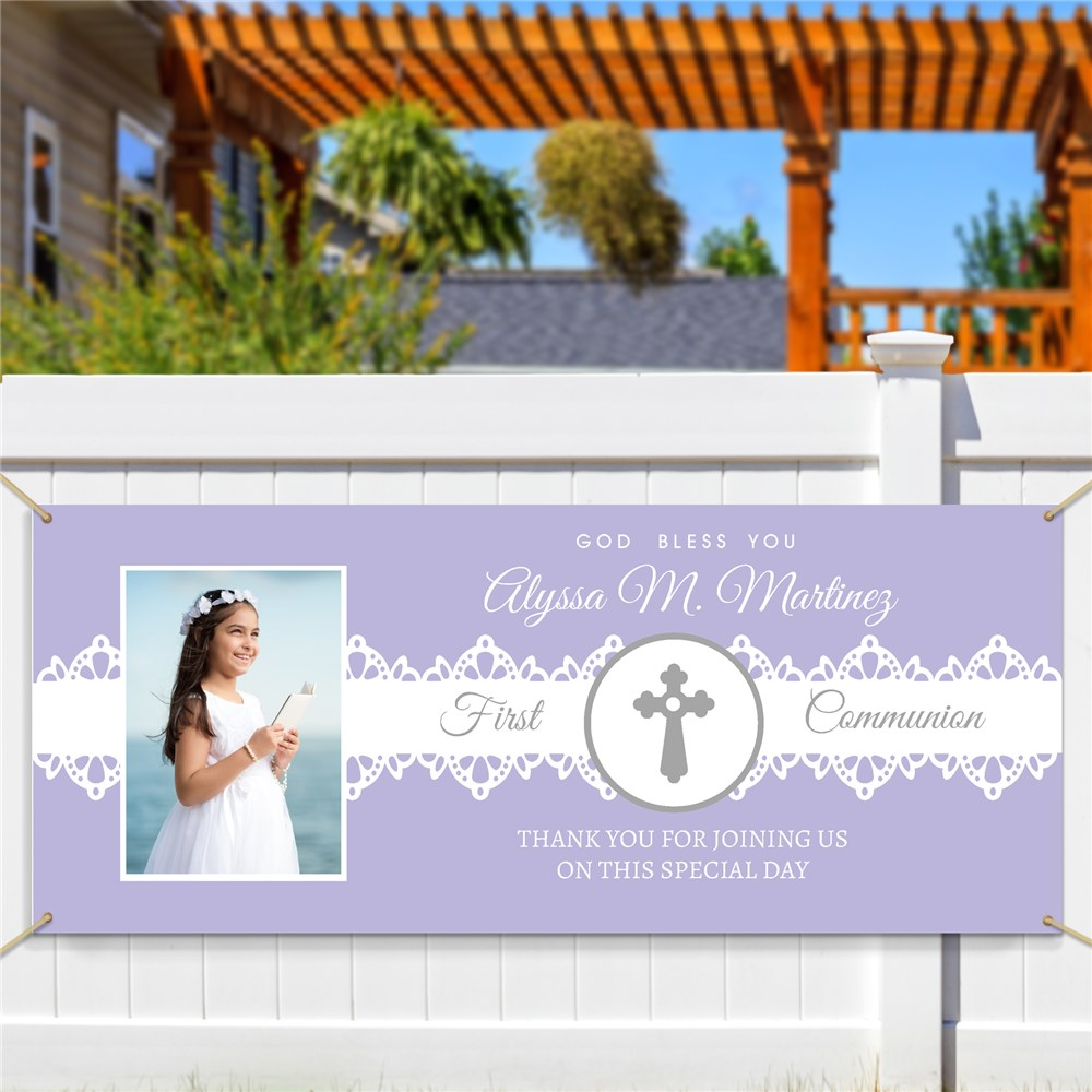 Communion Banner With Photo | Lace And Photo Banner for Communion