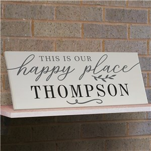 Personalized Happy Place Canvas | Wood Framed Happy Place Sign