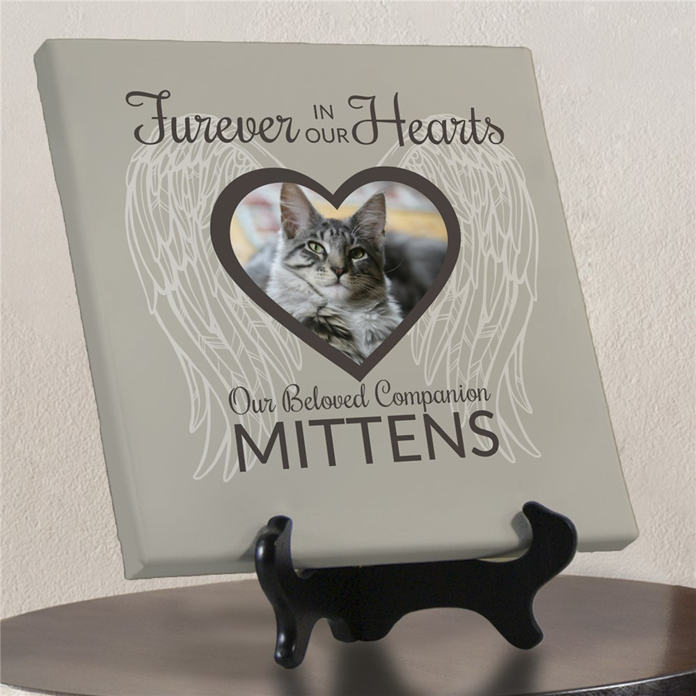 Photo Memorial Pet Canvas | Pet Heart Photo and Wings Memorial Canvas