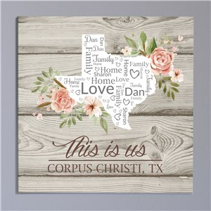 Personalized Floral State Canvas | Personalized State Wall Art