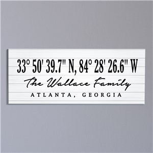 Personalized Coordinates with White Wood Canvas 91156859