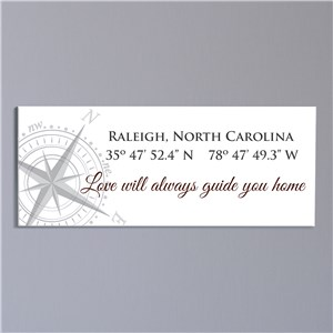 Personalized Compass Canvas | Customized Coordinates Sign