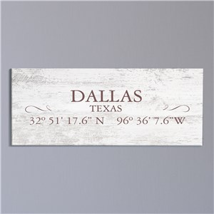 Personalized Coordinates Canvas | City and State Signs