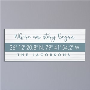 Personalized Where Our Story Began Coordinates Canvas 91156889