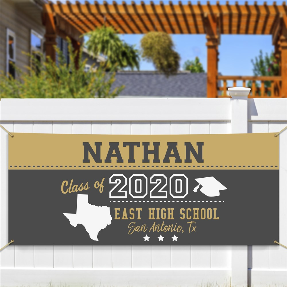 Personalized Grad Banner With State