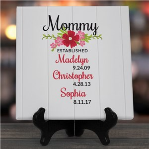 Personalized Established With Flowers Canvas Keepsake