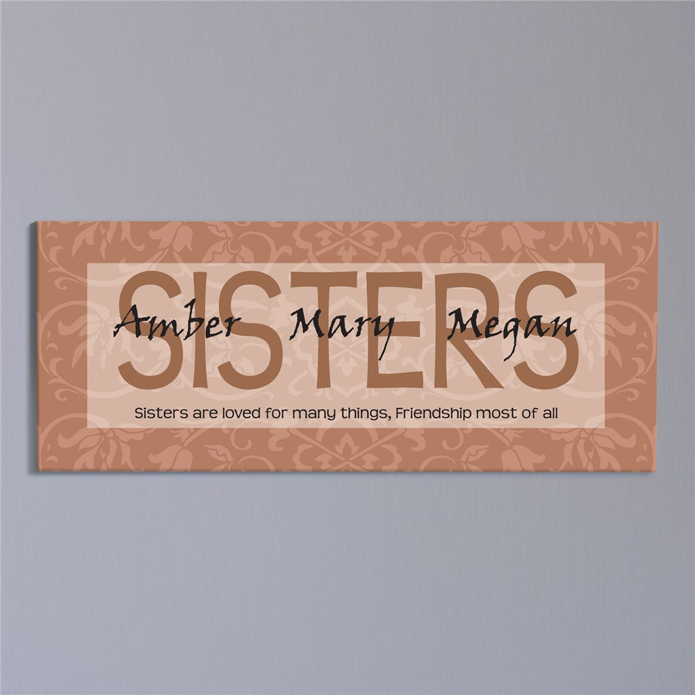 Sisters Are Loved... Wall Canvas | Personalized Sister Gifts
