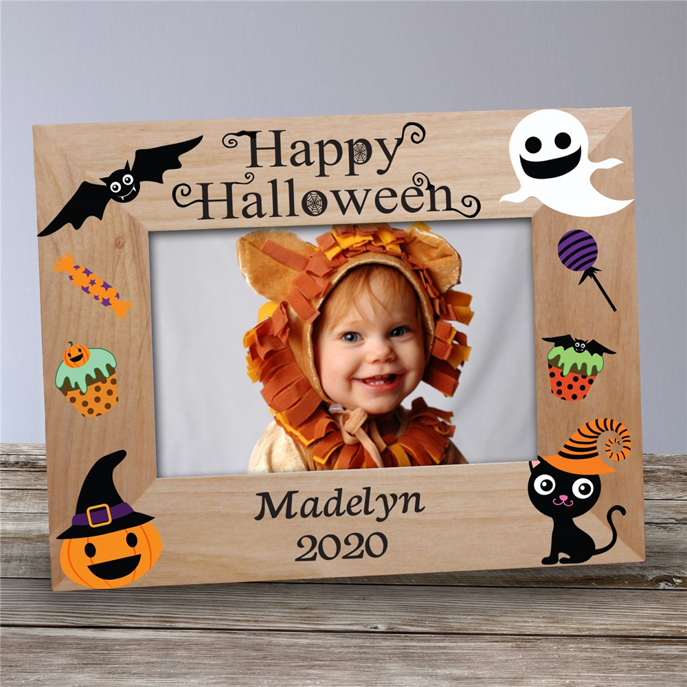 Personalized Happy Halloween Characters Wood Frame | Personalized Wood Picture Frames
