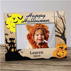 Personalized Haunted House Halloween Wood Frame | Personalized Wood Picture Frame