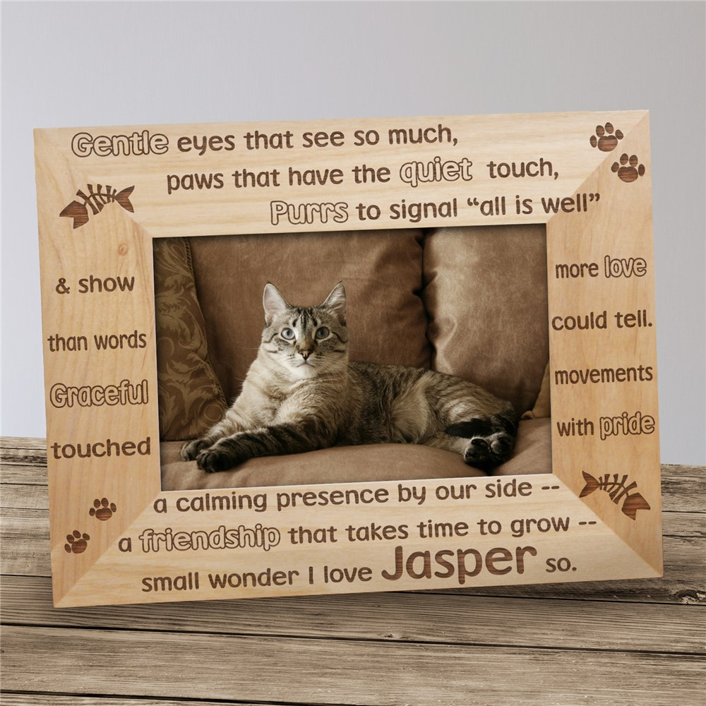 Personalized Cat Wood Picture Frame | Personalized Wood Picture Frames