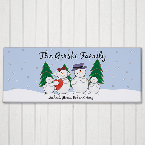Snow Family Canvas Print | Christmas Wall Decor