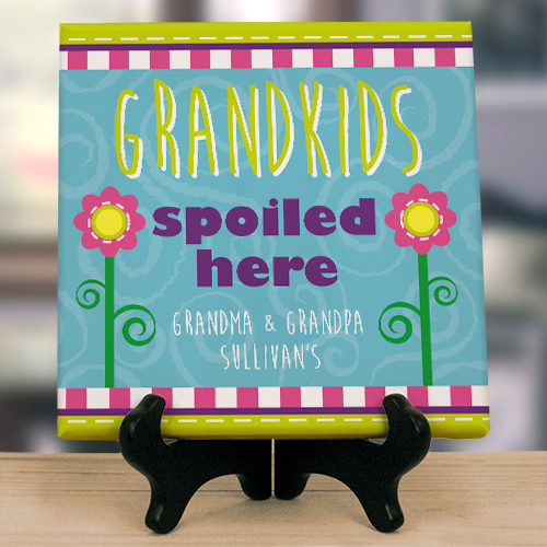 Personalized Grandparents Wall Canvas - Spoiled Here 9120544