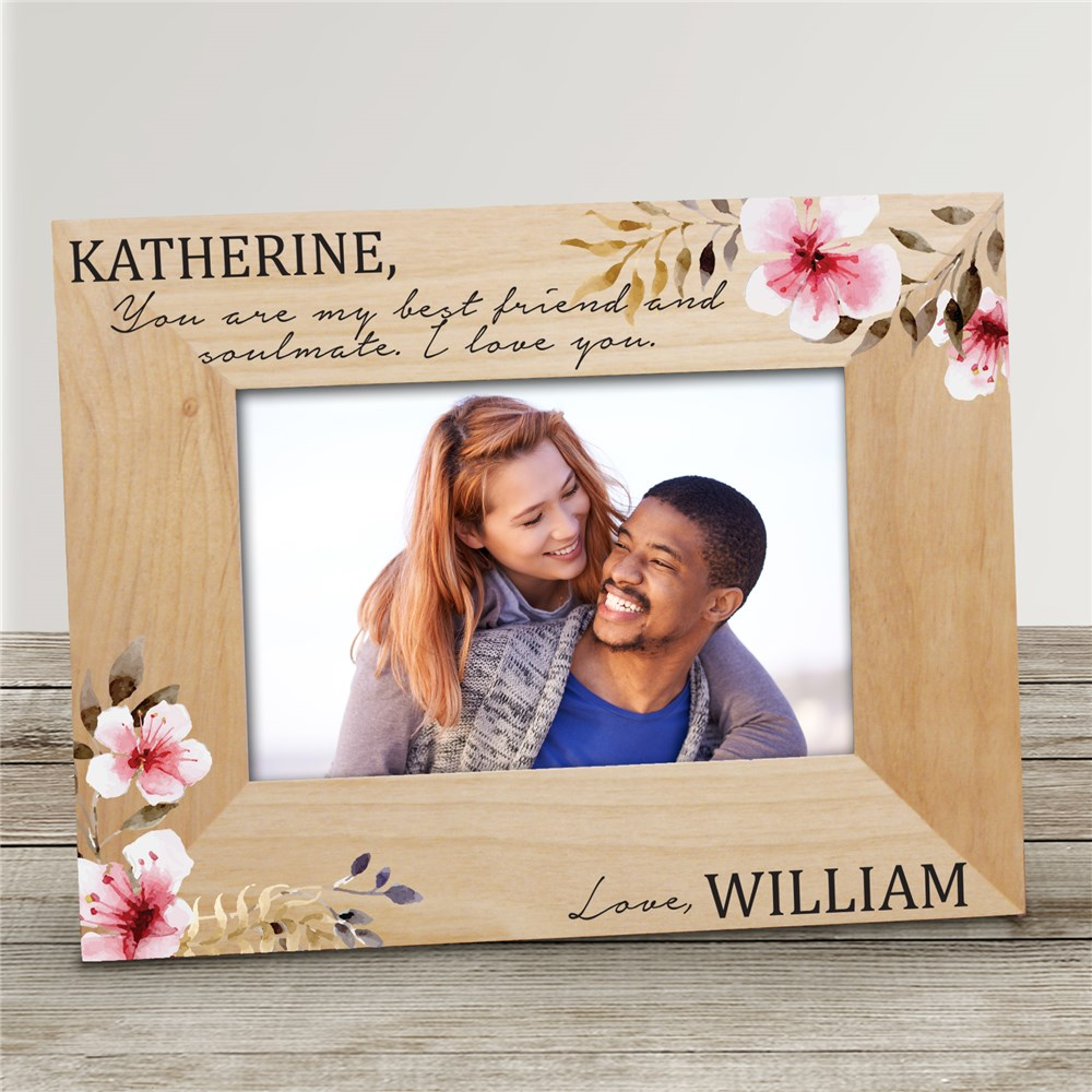 Romantic Gift Ideas For Her | Personalized Floral Love Wood Frame
