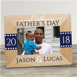 Personalized First Fathers Day Wood Picture Frame | Personalized Father's Day Picture Frames