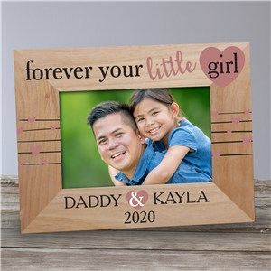 Personalized Forever Your Little Girl Wood Frame | Personalized Father's Day Picture Frames