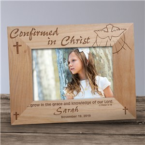 Confirmed in Christ Confirmation Wood Picture Frame | Personalized Wood Picture Frames