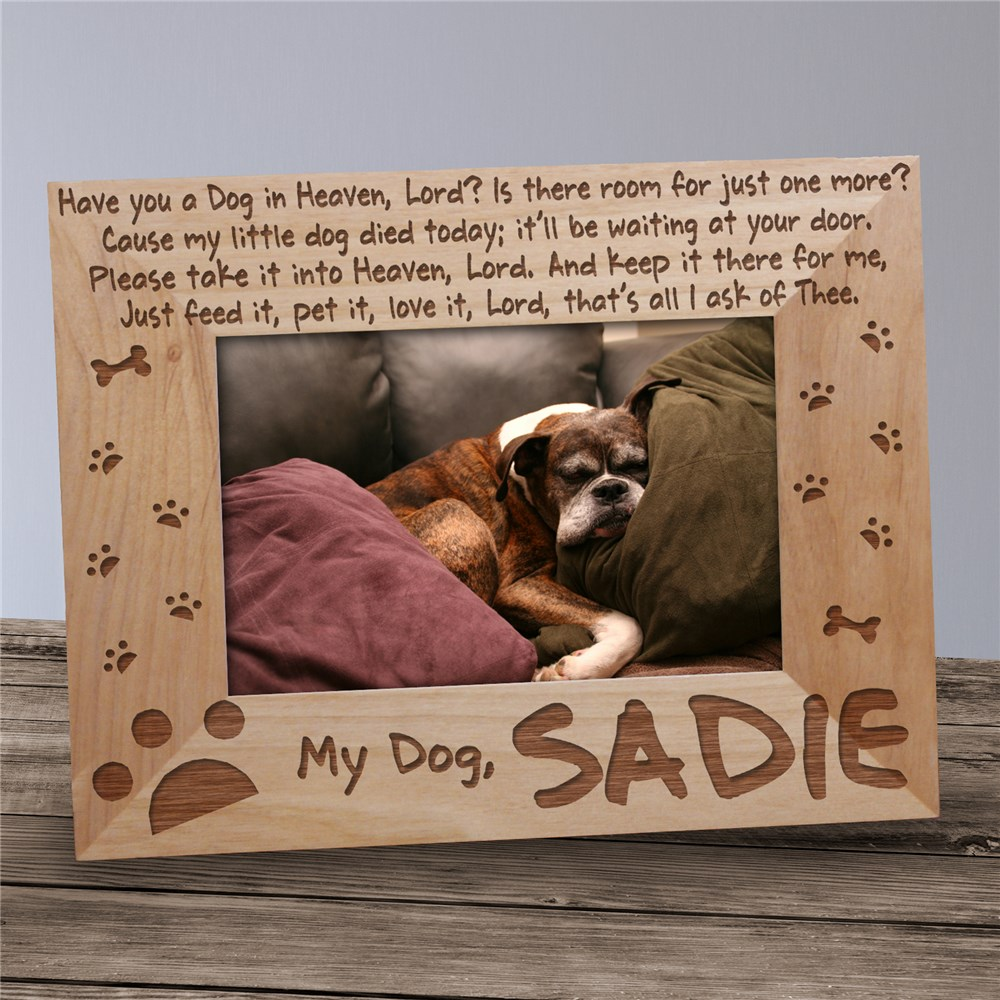Engraved Dog Memorial Picture Frame | Personalized Wood Picture Frames