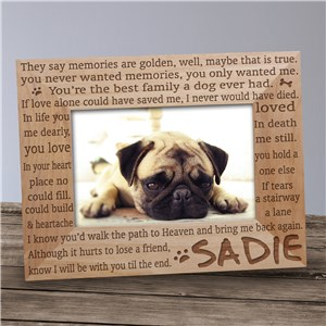 Engraved Til' the End Pet Memorial Wood Picture Frame | Personalized Wood Picture Frames